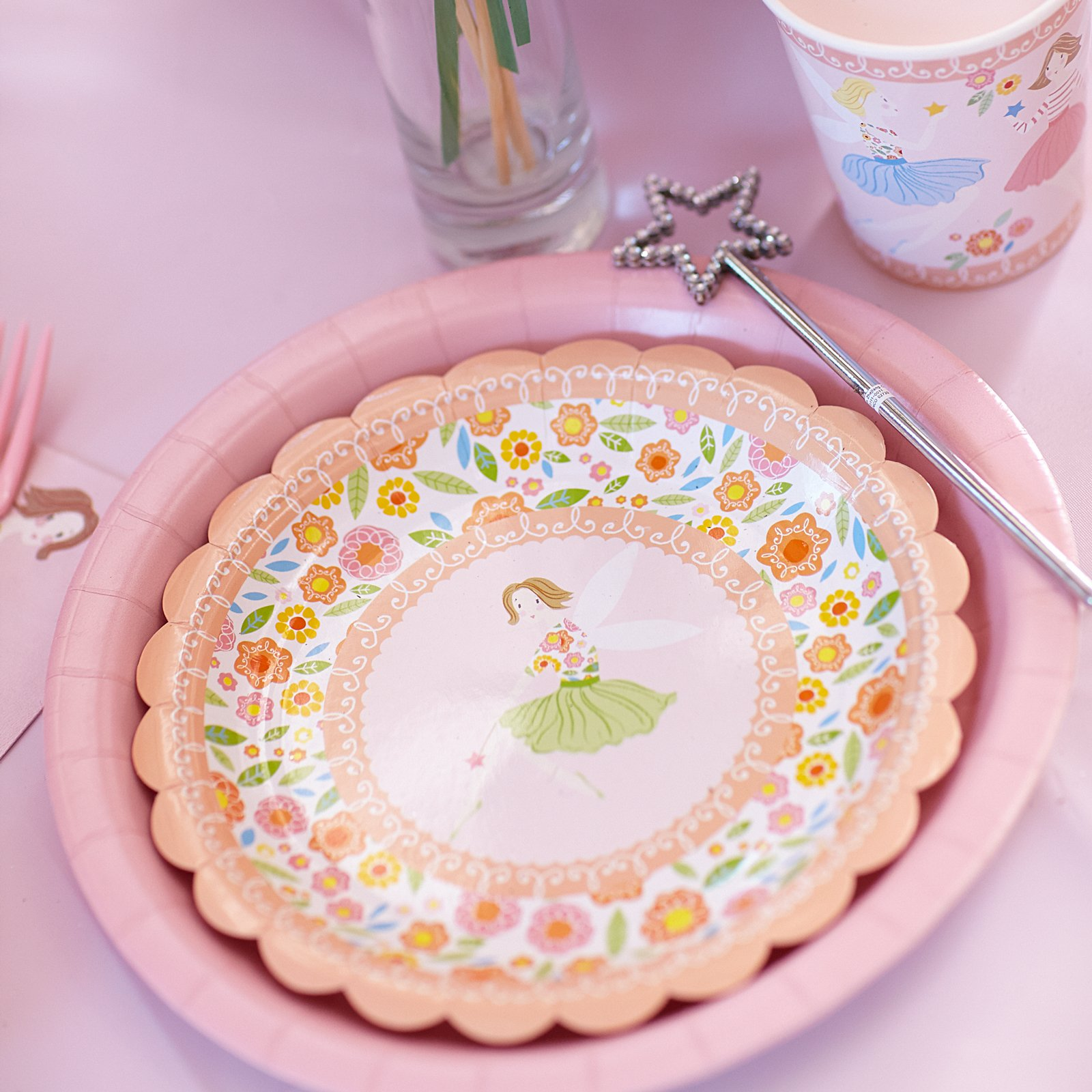 Decorate place settings with fairy themed paper cups plates napkins and the final touch? A magical star-topped wand of course! & You are In Good Company: GOOD LOOKS - A Fairy Magic Birthday Party