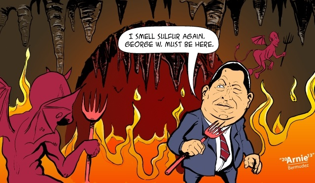 Chavez in Hell, I smell Sulfer, Chavez Political Cartoon