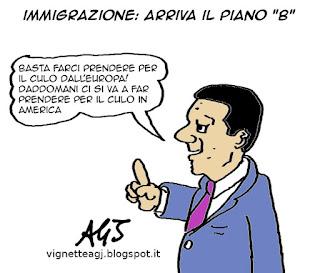 Piano B, Renzi, immigrazione, europa, satira vignetta