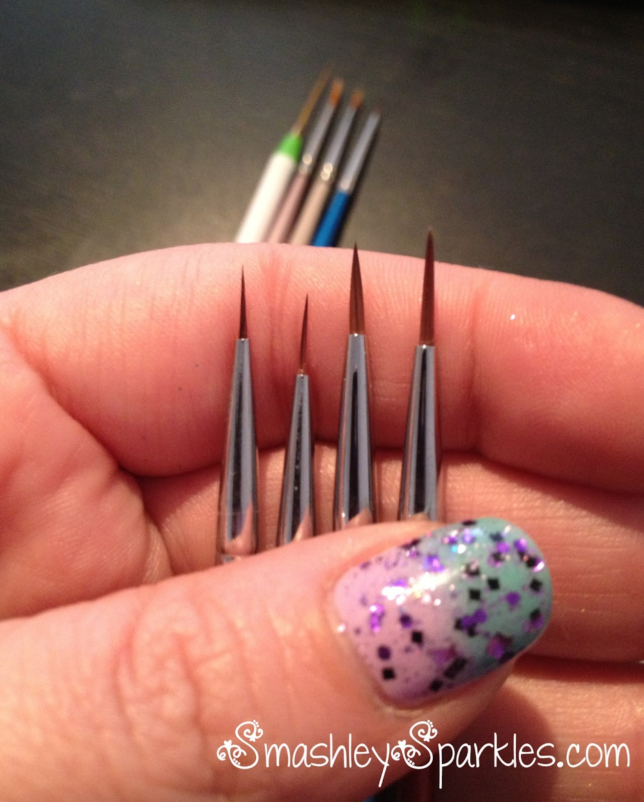 Sparkles: Jagged Rainbow Gradient with Born Pretty Nail Art Brush