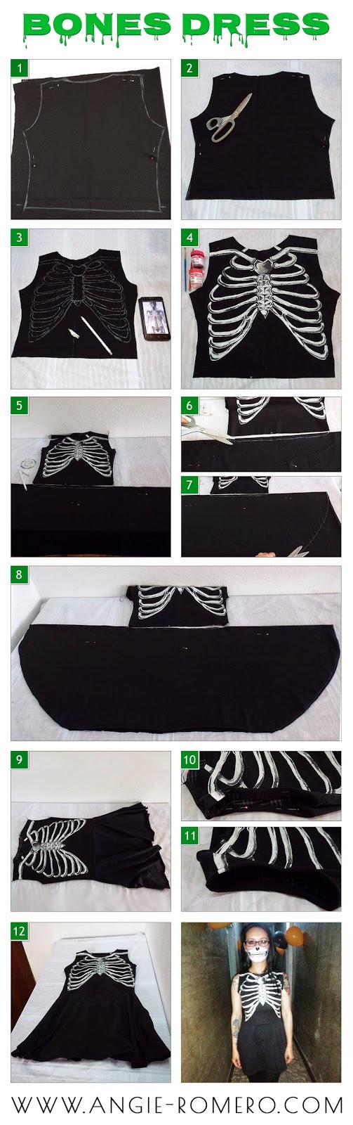Vestido estampado esqueleto - Huesos humanos
