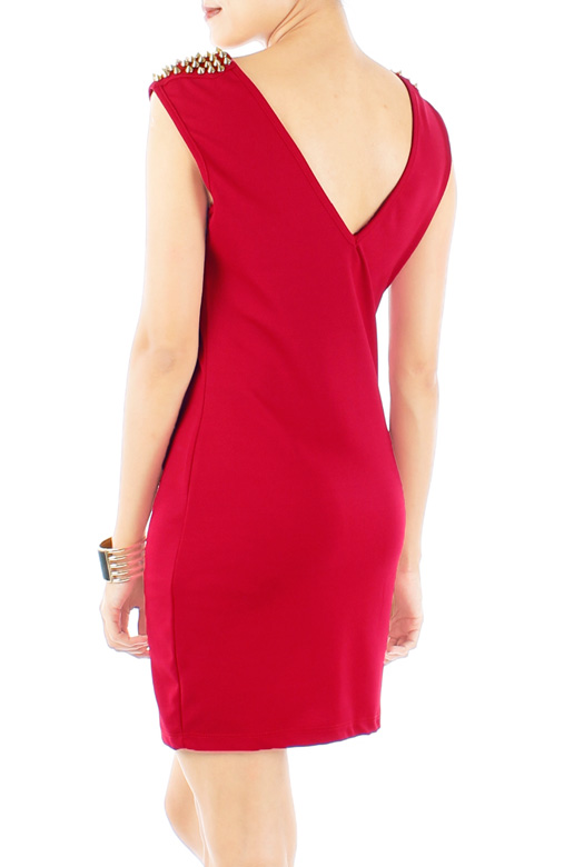 Cardinal Red Dress with Studded Shoulders