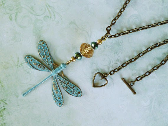 Painted Brass Dragonfly Necklace