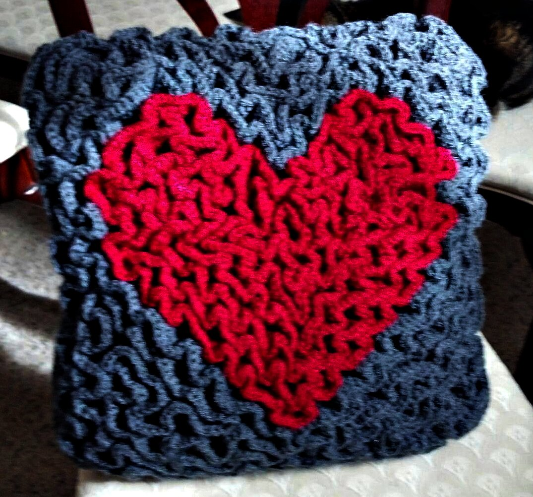 Tw In Stitches Wiggle Crochet Heart Pillow