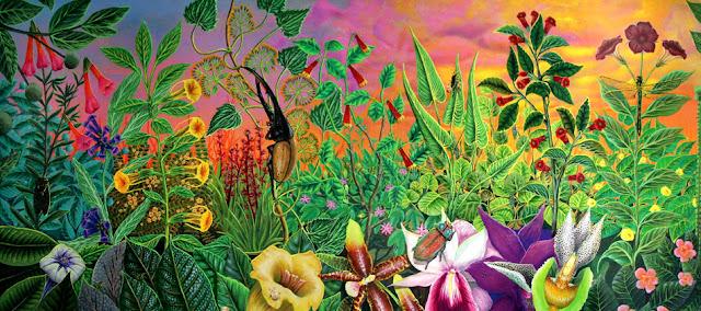 Flores de diversos colores con un escarabajo