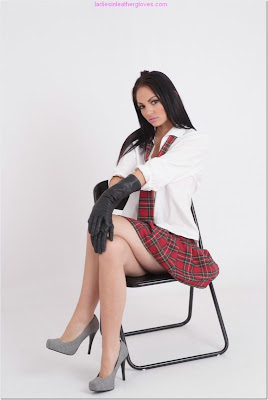 Sexy Brunette School Girl in Leather Gloves