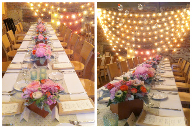 Zingerman's on fourth wedding reception hanging glass globe candles bud vases and wood box centerpieces by sweet pea floral design