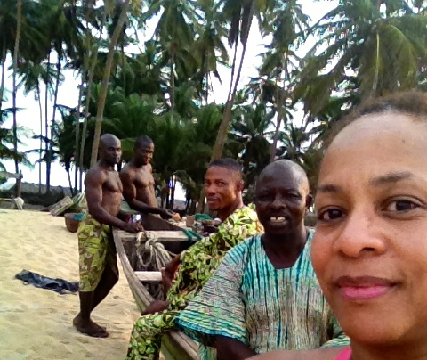 Janice Temple visiting a fishing village near Lagos, Nigeria, Africa