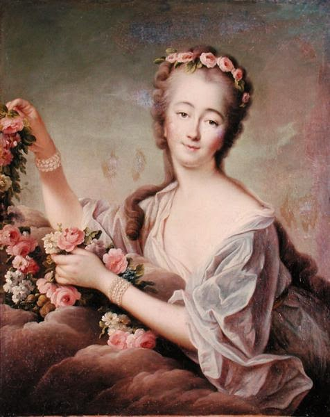 portrait of Madame du barry with flowers and a flowing shift wearing pearls