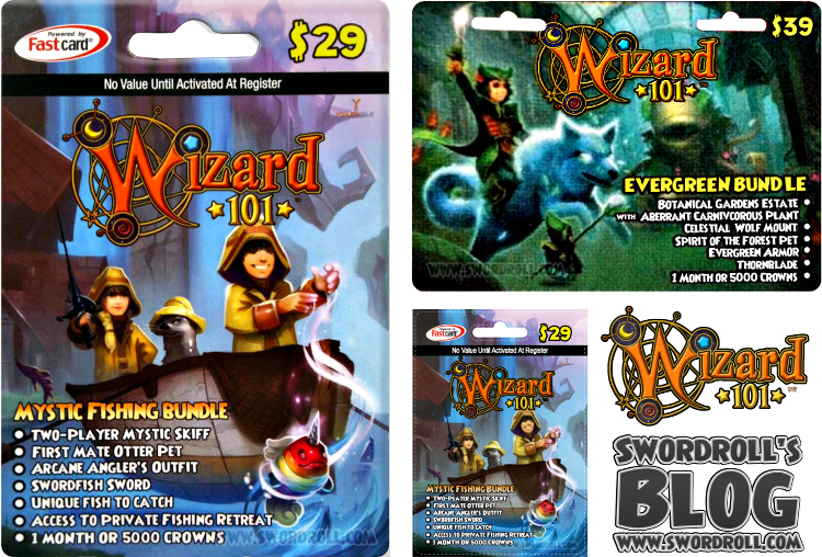 Wizard101 Mystic Fishing Bundle and Wizard101 Evergreen Bundle Card Images