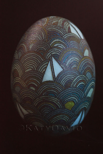 ©Katy David, Friday Egg: Dark and Stormy Emu Egg Pysanky