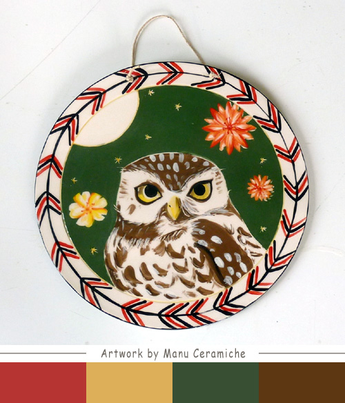 My owl barn decorative owl plate by manu ceramiche - Ceramiche decorative ...
