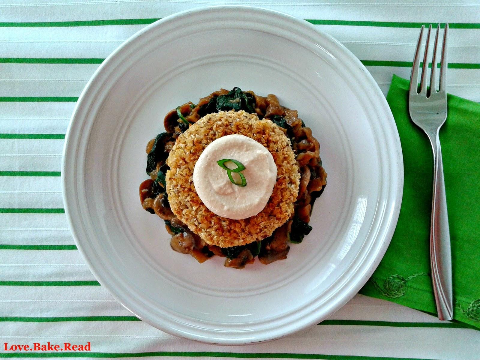 Cauliflower-Quinoa Cakes with Creamy Mushrooms, Spinach, & Caramelized Onions     Love.Bake.Read