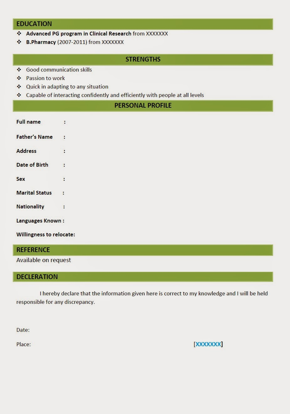 resume format for fresher bams doctor costa sol real