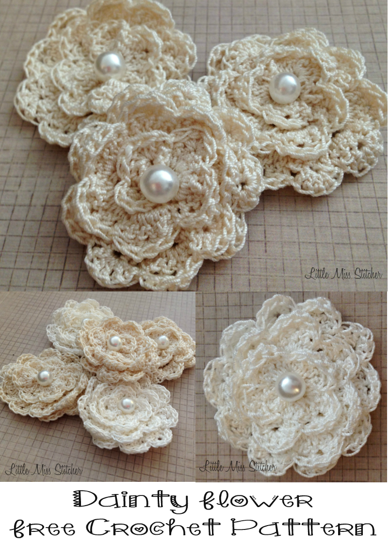 Crochet Flower Pattern Thread : Little Miss Stitcher: Dainty Crochet Flower Free Pattern