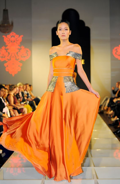 Orange evening dress from Singapore label Zardoze