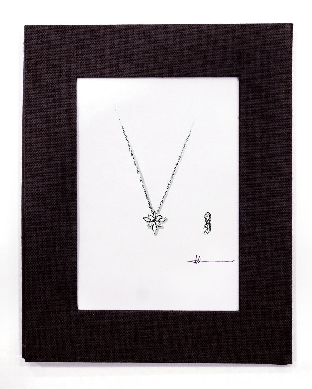 ジュエリーデザイナー岡田訓明が描いたダイヤモンドペンダントのデザイン画