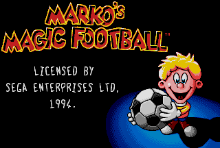 Marko's Magic Football Sega Mega Drive Genesis Title Screen