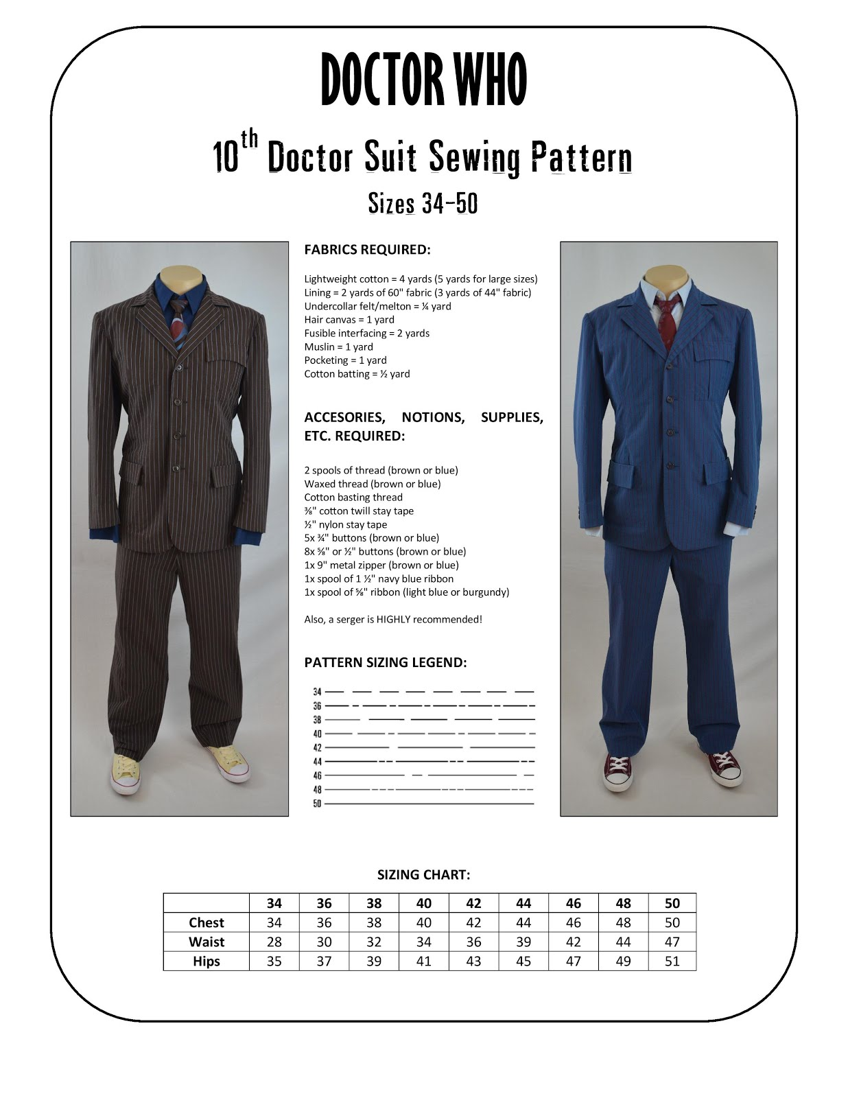 Doctor Who: 10th Doctor Suit Sewing Pattern