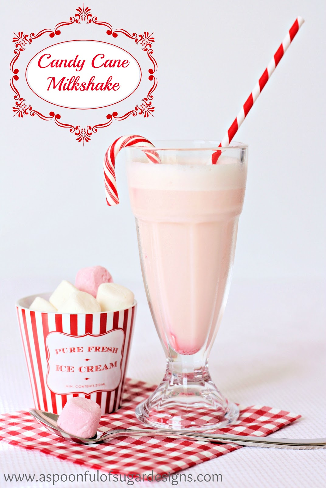 Candy Cane Milkshake by A Spoonful of Sugar Designs