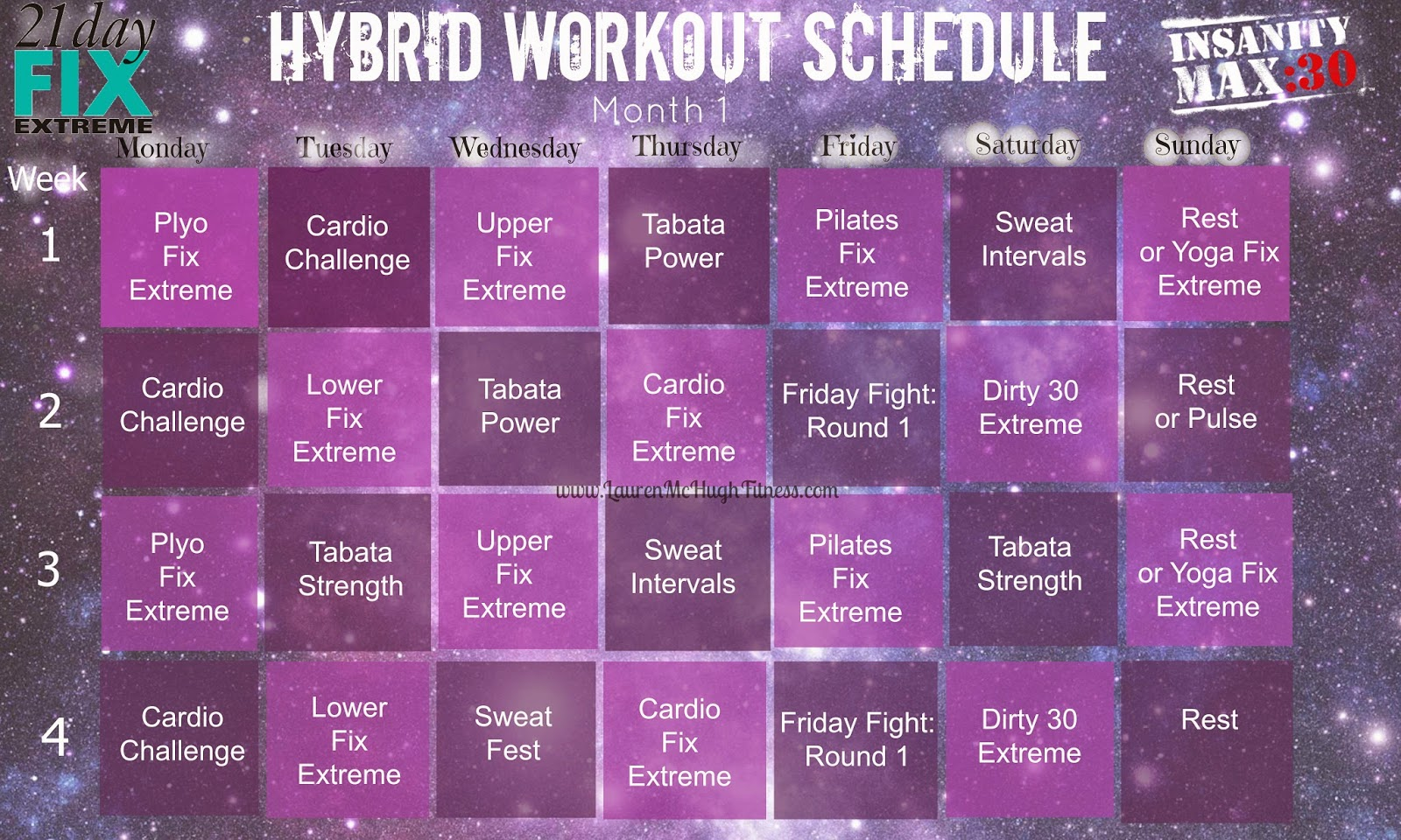 ... Extreme and Insanity Max: 30 Hybrid Workout Calendar | Lauren McHugh
