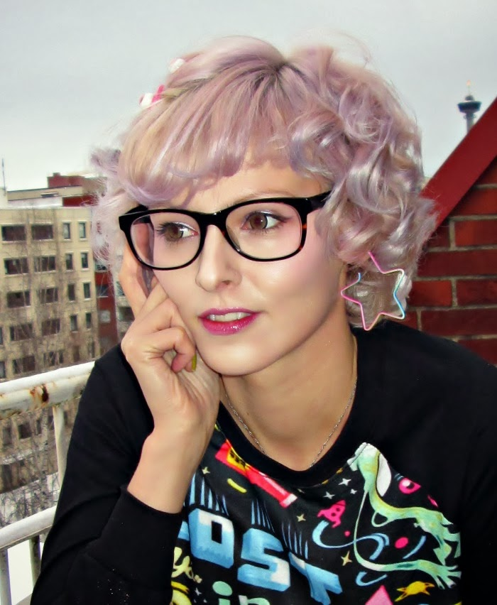 geek glasses, pastel lilac hair, space sweater