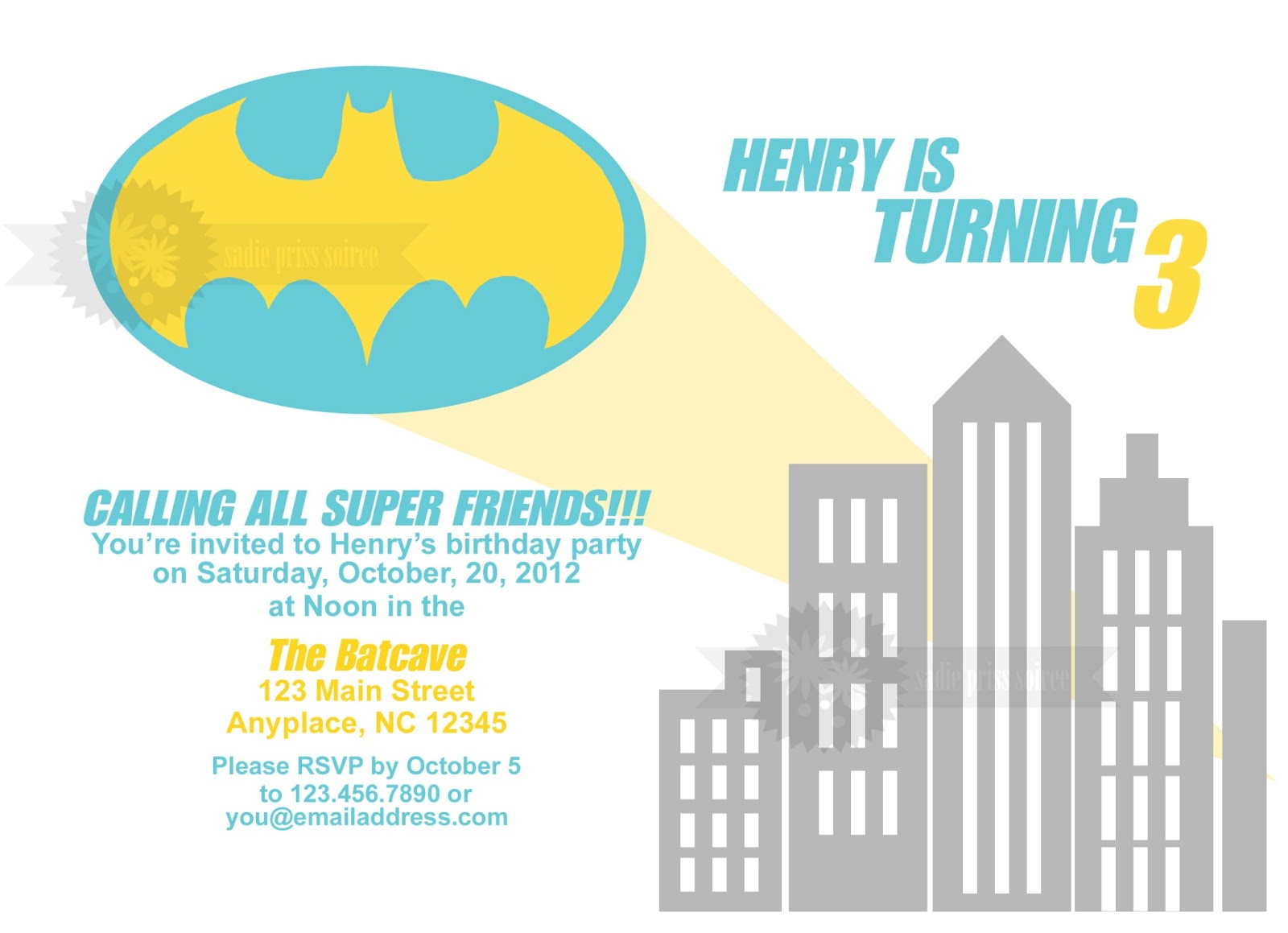 Batman Personalized Birthday Invitations