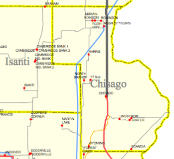 Electric transmission lines and substations in Chisago County