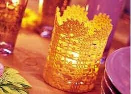 Luminaria porta vela tejida con ganchillo - idea para decorar mesas