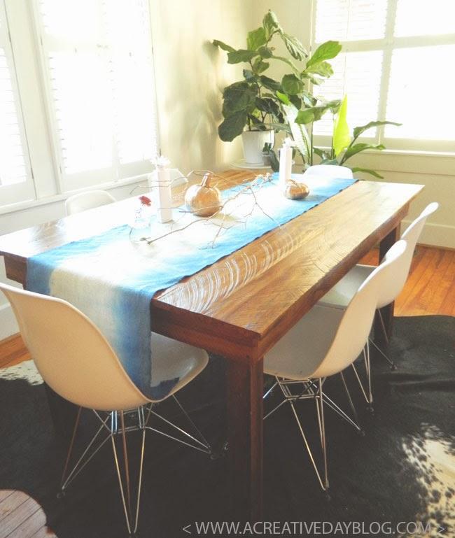 DIY Dip Dyed Burlap Table Runner