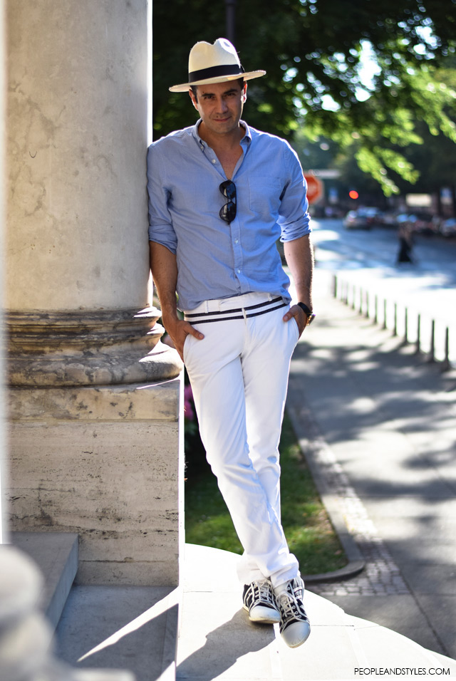 Ante Vrban, arhitektura, moda, dizajn, muška moda, street style man's fashion. How to wear white pants and Panama hat for guys, men all white outfit casual