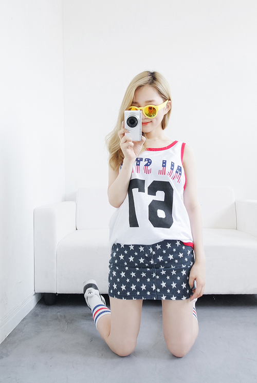 Star Print Denim Mini Skirt