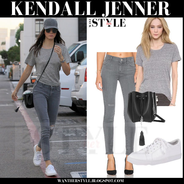 Kendall Jenner in grey top and grey skinny jeans what she wore models off duty