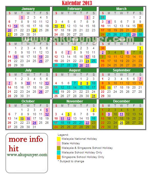Malaysia School Holiday 2015