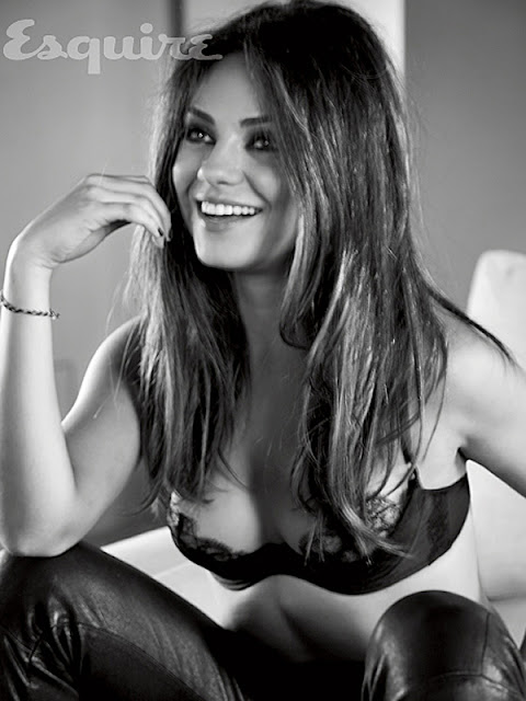 Mila Kunis cleavage shot in sexy underwear - Sexiest Woman Alive 2012 Photo Shoot by Esquire
