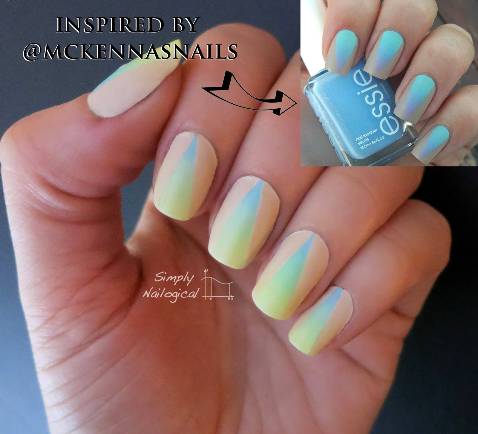 Simply Nailogical: Neutral triangle over soft neon gradient