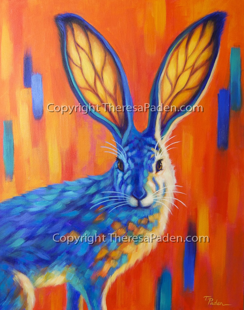 Colorful Animal Art Whimsical Jack Rabbit Painting By Theresa Paden