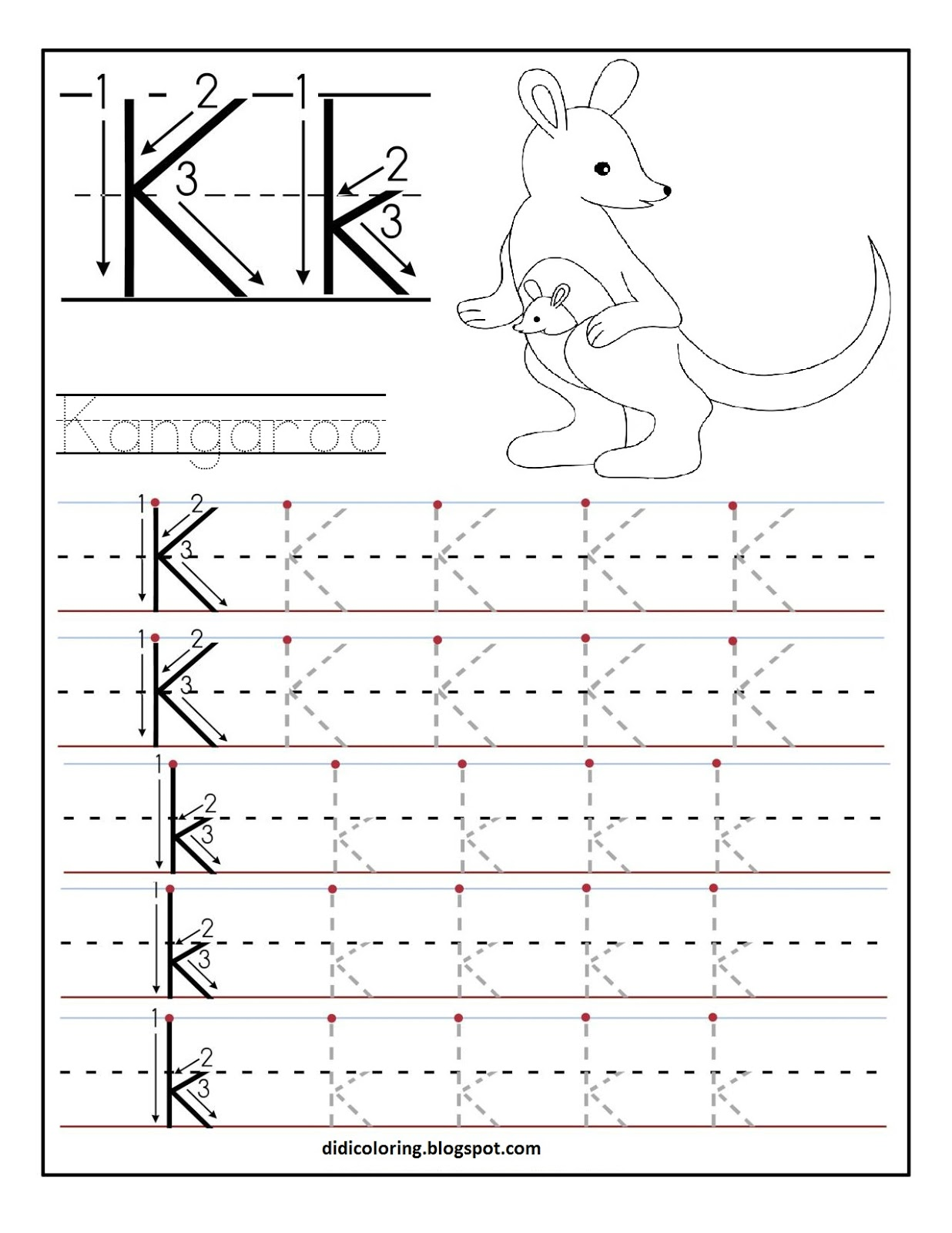 Learning To Write Letters Worksheets Davezan – Letter K Worksheets for Kindergarten