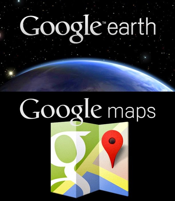 An image of Google Earth Logo over Google Maps Logo