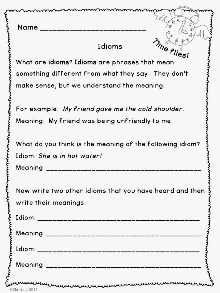 The Best of Teacher Entrepreneurs Language Arts Idioms – Idiom Worksheets 4th Grade