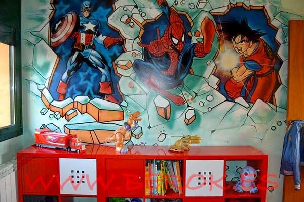 Graffiti habitación superhéroes