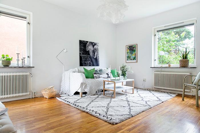 Decoracion estilo nordico apartamento sueco en color blanco y Verde
