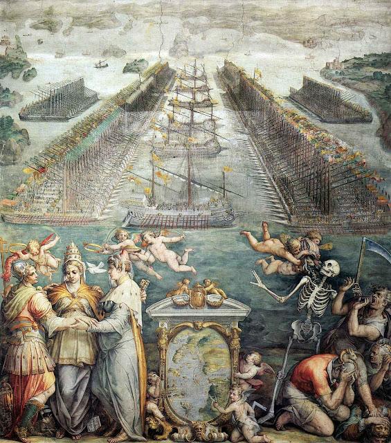 A frota católica em Messina antes da batalha, Giorgio Vasari (1511 — 1574).
