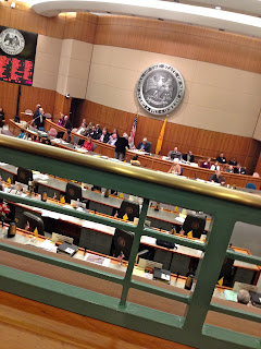 A look down into the House floor from the gallery in the Roundhouse in Santa Fe, NM