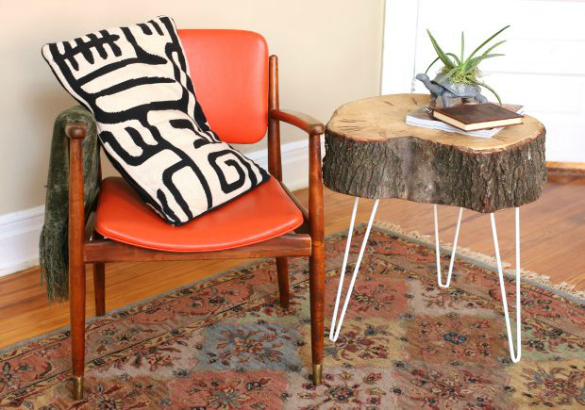 weu0027ve constructed a new pair of rustic end tables using little more than tree stump slices and hairpin legs find the full furniture tutorial for these