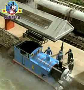 Sir Topham Hatt Thomas the train and his engine friends on the Sodor Railway Elsbridge station tracks