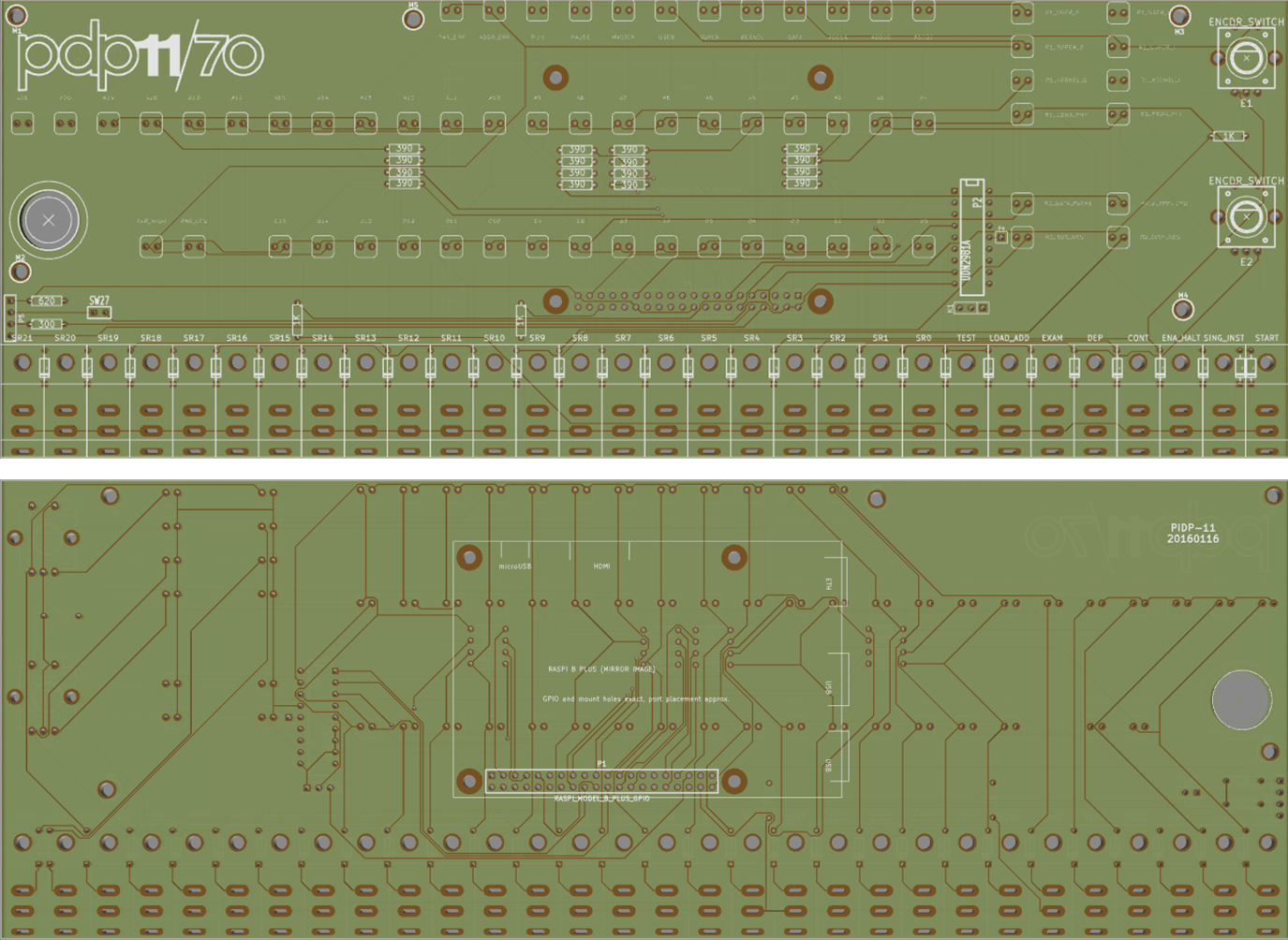 Starting To Make A Pidp 11 70 Obsolescence Guaranteed Free Electronic Circuits 8085 Projects Blog Archive Hall Sensor This Time I Chose Put The Raspberry Pi In Middle Of Pcb Rather Than Flush At One Side As Did For 8