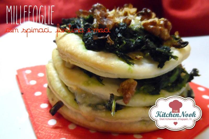 millefoglie con spinaci, fontina e noci