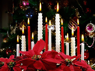 Christmas candles decorated at the X mas tree picture
