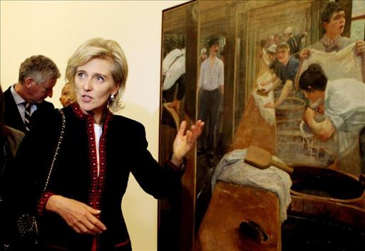 Belgium's Princess Astrid tours the Modern Art Museum of Bogota